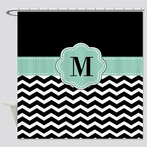 Black Mint Chevron Monogram Shower Curtain